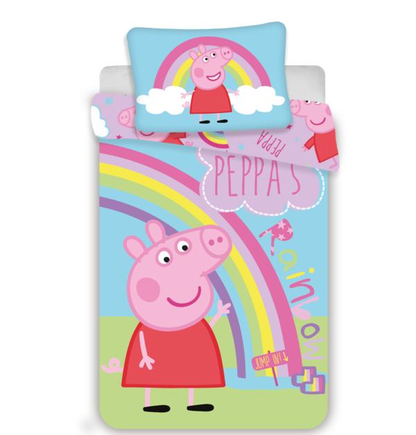 Peppa Pig dekbedovertrek ledikant 100x135 - Rainbow