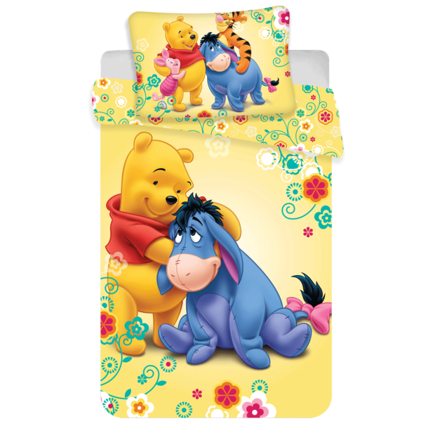 Winnie the Pooh dekbedovertrek ledikant 100x135 - Geel
