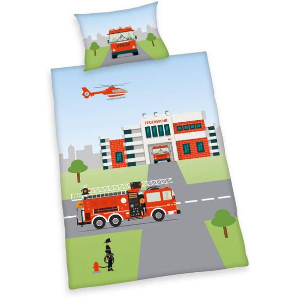 Brandweer dekbedovertrek ledikant 100x135
